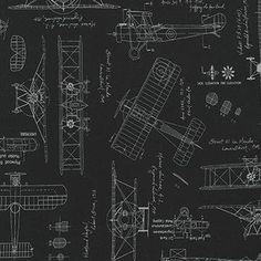 Aviation fabric vintage blueprints airplane blueprint fabric savannah lockie vintage blueprints aircraft in black malvernweather Image collections