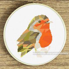 Robin bird Modern counted cross stitch pattern Instant