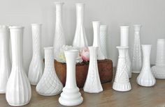 NO DUPLICATES 15 Vintage Milk Glass Vases Hobnail Wedding Shower Decor Collection Of 15  Wedding Special Event From Country Home City Home.