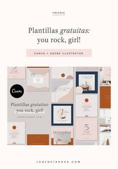 Te regalo un pack de 12 plantillas en Canva y Ai Adobe Illustrator, Branding, Mood Boards, Illustration, Editorial, Blog, Tinkerbell, Pink, Free Stencils