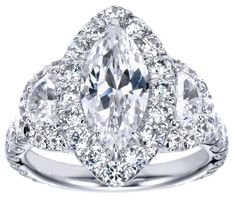 Marquise Diamond Halo Engagement Ring Half Moon Side stones---perhaps use the tanzanite ovals on the sides of my marquise? Thick Band Engagement Ring, Beautiful Engagement Rings, Antique Engagement Rings, Engagement Ring Settings, Beautiful Rings, Solitaire Engagement, Marquise Diamond, Diamond Rings, Marquise Cut