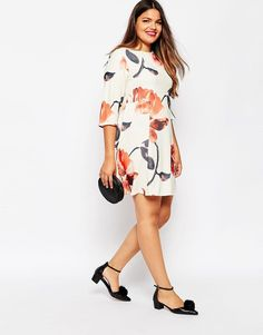 ASOS Curve | ASOS CURVE Swing Dress In Oversized Floral Print at ASOS