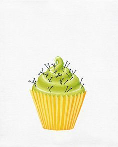 """Hey Cupcake! Green and Yellow Cupcake with Pins & Nails - 8""""x10"""" giclee PRINT"""