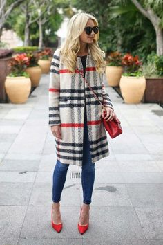 We love Blair Eadie's plaid coat and skinny jeans - see 19 more winter outfits ideas here