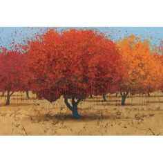 "Red Barrel Studio Orange Trees II Painting Print on Wrapped Canvas Size: 12"" H x 18"" W x 0.75"" D"