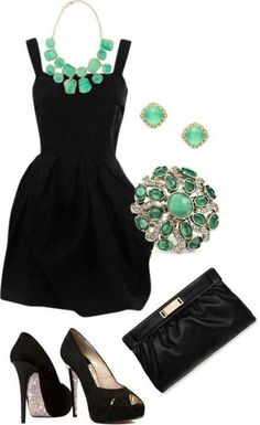 Black dress with green accessories
