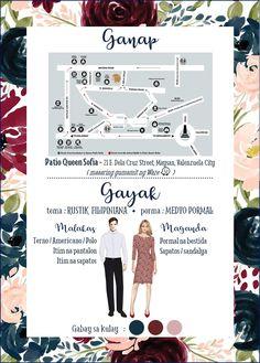 Map And Attire Page Tagalog – Best Party Ideas Filipiniana Wedding Theme, Formal Wedding Attire, Wedding Entourage, Wedding Prep, Dream Wedding, Wedding Ideas, Wedding Signs, Wedding Invitation Content, Wedding Invitations