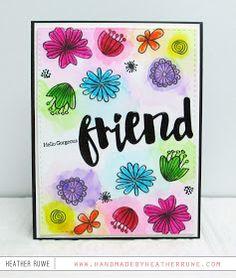SSS Wild Beauty; friend die; loose watercolor; rainbow; hello; word die