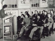 WASP pilots in the briefing room.
