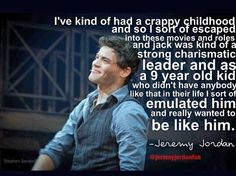 Jeremy Jordan talking about how Jack Kelly and Newsies inspired and influenced him as a kid.