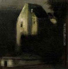 Gulácsy Lajos - Castle Park In Moonlight Oil Painting Reproductions, Miraculous, Moonlight, Art Nouveau, Castle, Hand Painted, Paintings, Artists, Park
