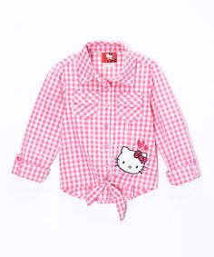 Loving this Pink Gingham Hello Kitty Top - Toddler & Girls on #zulily! #zulilyfinds