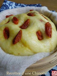 Recettes d'une Chinoise: Gâteau de maïs avec les baies de Goji à la vapeur 玉米发糕 yùmǐ fāgāo