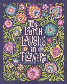 Via DELLA CSONKI @honeybunnyhun Wycinanki Floral Botanical Folk Art Print Quote The Earth Laughs in Flowers Polish Papercut Style Gift 8 x 10 or 11 x 14 Emerson