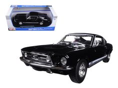 1967 Ford Mustang GTA Fastback Black 1/18 Diecast Model Car by Maisto - Brand new 1:18 scale diecast model of 1967 Ford Mustang GTA Fastback Black die cast model car by Maisto. Has steerable wheels. Brand new box. Rubber tires. Has opening hood, doors and trunk. Made of diecast with some plastic parts. Detailed interior, exterior, engine compartment. Dimensions approximately L-10, W-4, H-3.5 inches. Please note that manufacturer may change packing box at anytime. Product will stay exactly…
