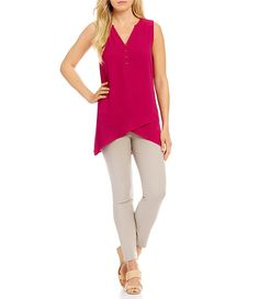 Ivanka Trump Split Neck Layered Hi-Low Hem Georgette Tunic