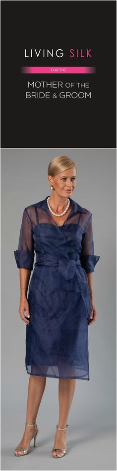 A navy blue pure silk knee length dress is classic and elegant for the mother of the bride/ groom for a cocktail, beach, boho, country, rustic, garden, formal wedding and rehearsal dinner in Spring/ Summer and Fall/ Winter | Mother of the Bride / Groom Dresses #livingsilk #celebrateinsilk #puresilk #motherofthebridedresses #motherofthegroomdresses #weddingideas #weddings