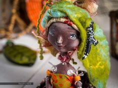 OOAK art doll Shaman Dancing leaves Matchbox doll Ethnic от Poldiy