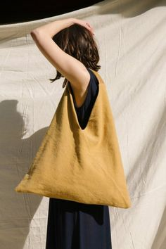 Ori Shoulder Tote Custom dyed cotton ochre canvas body / self lined / Deer Leather handle / Internal leather pocket H to handle x W at bottom x Handmade in New Zealand Origami Tote Bag, Diy Tote Bag, Furoshiki Bag, Triangle Bag, Japanese Knot Bag, Linen Bag, Fabric Bags, Fabric Basket, Cloth Bags
