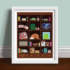 A very magical bookcase art print featuring replica objects from the hit TV show Charmed! Piper, Prue, Phoebe Halliwell, Paige Matthews, Charmed Sisters, Power of Three