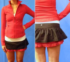 Lululemon Run Your Heart Out Skirt black / red for sale on Trade Me, New Zealand's auction and classifieds website Athletic Gear, Workout Wear, Flare Skirt, Cheer Skirts, Lululemon, Short Dresses, Girly, Sporty, Running