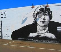 Inspiring picture beatles, flower, graffiti, john lennon, san diego, street art. Resolution: 500x374. Find the picture to your taste!