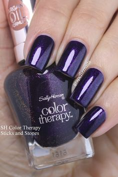 Sally Hansen Color Therapy - Sticks and Stones - Grape Fizz Nails Gorgeous Nails, Pretty Nails, Hair And Nails, My Nails, Essie, Sally Hansen Color Therapy, Nail Polish Stickers, Sally Hansen Nails, Nagel Hacks