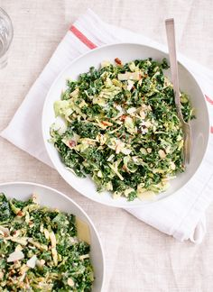 Raw kale and brussels sprouts salad with tahini-maple dressing from cookieandkate.com