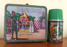 Robin Hood Lunch Box (Vintage 1956 Metal Lunchbox & Thermos, Old Antique Lunchboxes)