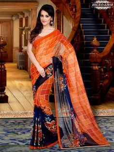 Orange & Blue Colour Georgette Printed Saree With Unstitched Blouse - Printed Sarees - Shop By Type - Sarees