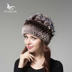 MOSNOW 2016 Rex Rabbit Fur Woman Winter Hats For Women Solid Flower Cluster Black Knitted Women's Hat Female Skullies  Beanies