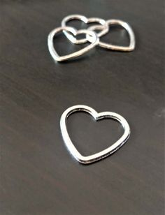 4 Heart Charms  Simple Connector Charms  Silver by GuerrillaCharm