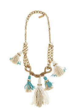 Calypso St Barth - 5 tassle necklace textured chunky tassle necklace brass chain linked to mesh tube beaded yarn tassles embelished with blue & opal strass crystals
