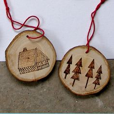 Wood Burned Ornaments. So easy. Going to salvage some branches from Mom's tree this year, slice them up and sand them, then use wood burner to draw out images.