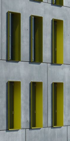 bogevischs buero, München, Studentenwohnheim, Ulm, Beton, Fertigteile, Farbe, Fenterlaibung, Außenansicht