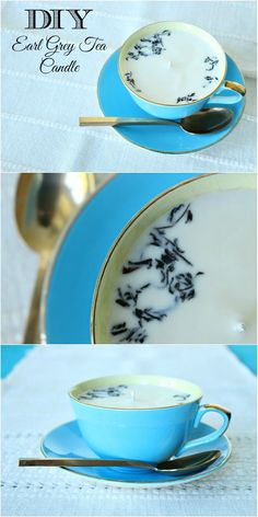 DIY Teacup Candle Tutorial from Dans le Lakehouse.Make this gift worthy Earl Grey Tea DIY Teacup Candle with melt and pour soy flakes. See Below for more DIY Tea Themed Gifts:DIY Instant Chai Tea Mix...