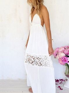 White Maxi Halter Dress With Lace Insert Backless Pleated Sleeveless