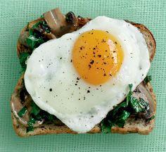 Egg Mushroom and kale on toast