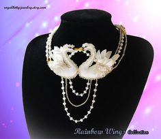 White swan necklace swans in love necklace bridal jewelry Swan Necklace, Love Necklace, White Swan, Swans, Bridal Jewelry, Charms, Handmade Jewelry, Unique, Gifts