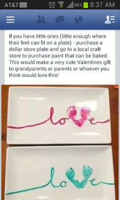 40a34311657 So cute! A plate and little feet! Valentines Day