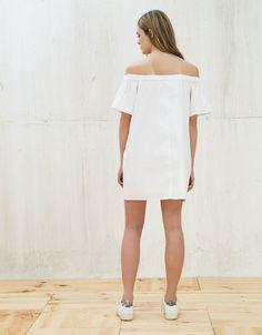 Off shoulder ruffle dress, Bershka, £24.99