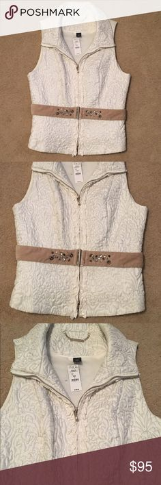 WHBM Vest With Belt Beautiful stitching in this vest. Front zip with two hidden pockets at hips. White House Black Market Jackets & Coats Vests