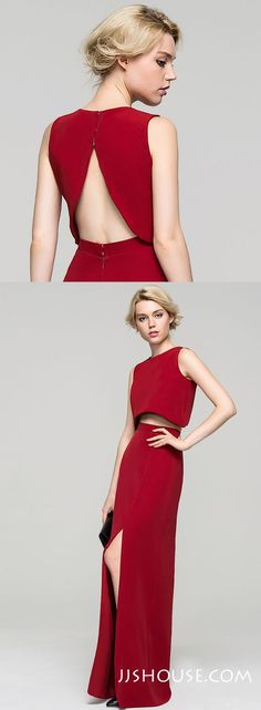 Upd0082, A-Line, Princess, Scoop Neck, Floor-Length, Satin Evening Dress, With Split Front, Red prom dresses, two pieces prom dresses