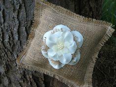 Rustic Burlap Ring Bearer Pillow. $13.00, via Etsy.