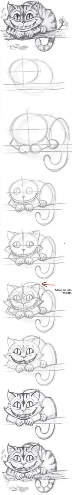 Meine Disney Zeichnung - Cheshire Cat from Alice In Wonderland. How to draw the Cheshire Cat - Logischesmädchen 44 - Pin Drawing Sketches, Cool Drawings, Drawing Ideas, Drawing Tips, Sketching, Drawing Stuff, Sketch Ideas, Easy Sketches, Simple Drawings
