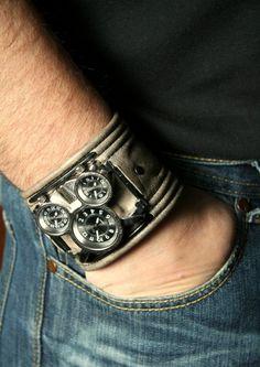 """Men's Wrist watch  leather bracelet  """"Tuareg-2"""" - SALE - Worldwide Shipping - Steampunk Watch. $160.00, via Etsy."""