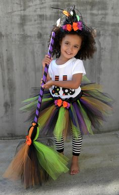 Tutu Skirt - Witch Halloween Costume - Spunky Spellbinder - 12 Month to 2 Toddler Girl. $55.00, via Etsy.