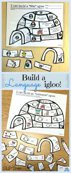"""Build language igloos while practicing """"Wh""""-questions, regular and irregular past tense verbs, antonyms and synonyms, as well as multiple meaning words and homophones. Speech Therapy Activities, Speech Language Pathology, Language Activities, Speech And Language, Irregular Past Tense Verbs, Multiple Meaning Words, Wh Questions, Igloo Building, Speech Room"""