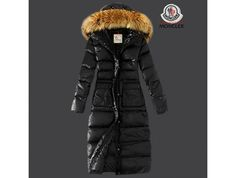 outlet Moncler Damen Chic schwarze lange Daunen mantel Pelz Kragen 81CM jacken kinder