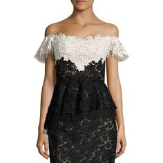 RENE RUIZ Lace Ruffled Lace Silk-Blend Corset Top ($525) ❤ liked on Polyvore featuring tops, off the shoulder ruffle top, flutter sleeve top, off shoulder tops, corset tops and floral peplum top
